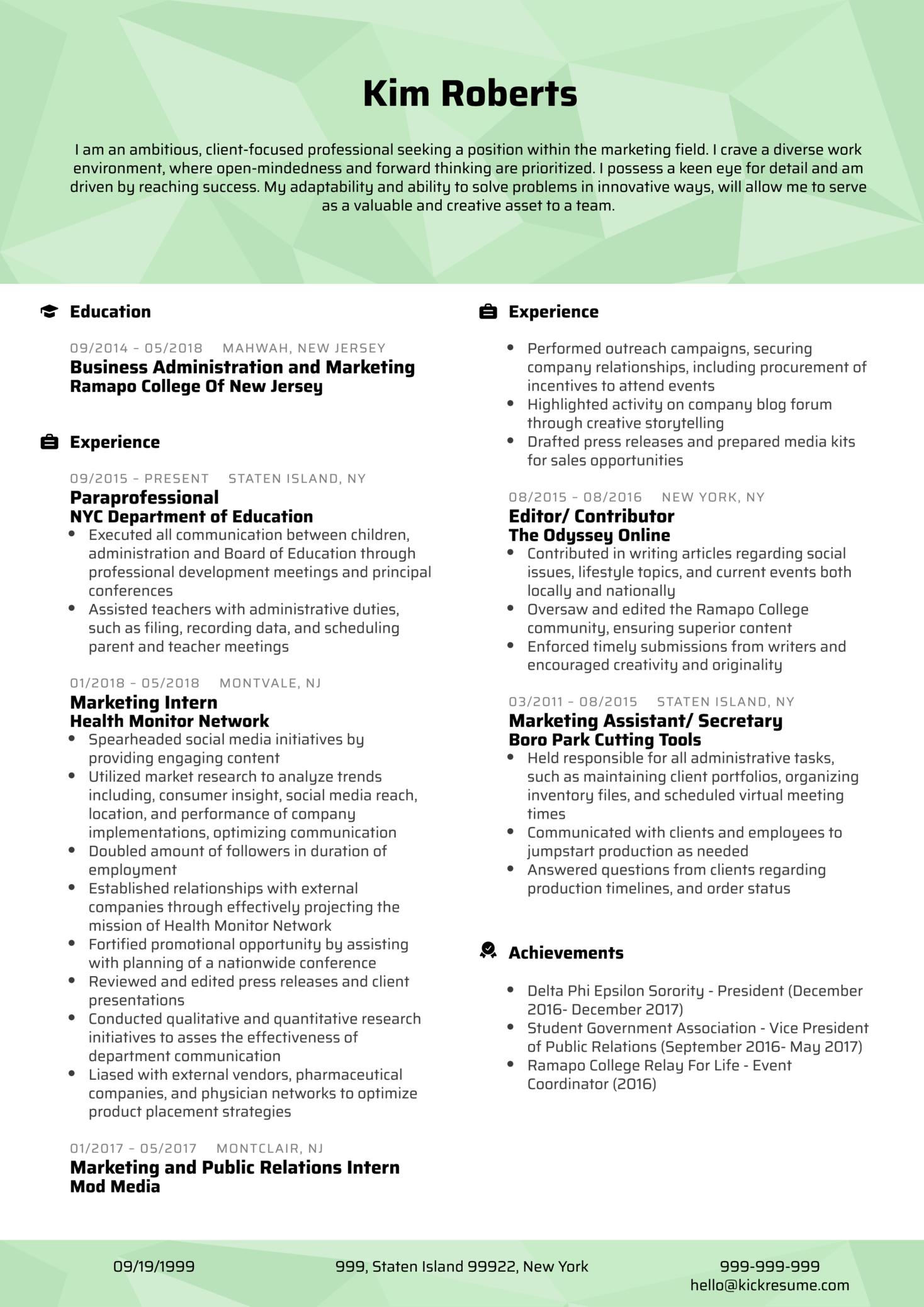 Professional Project Coordinator CV Sample (Parte 1)