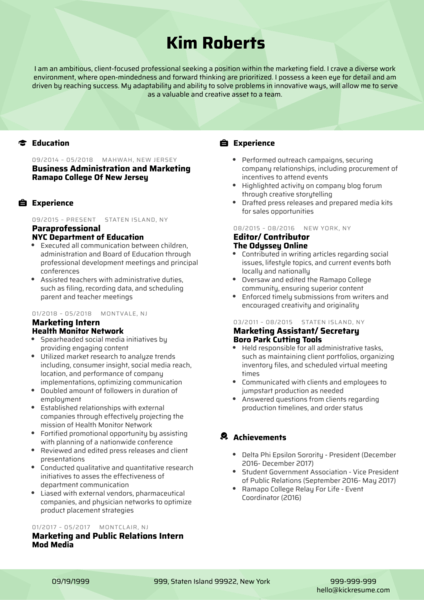Professional Project Coordinator CV Sample