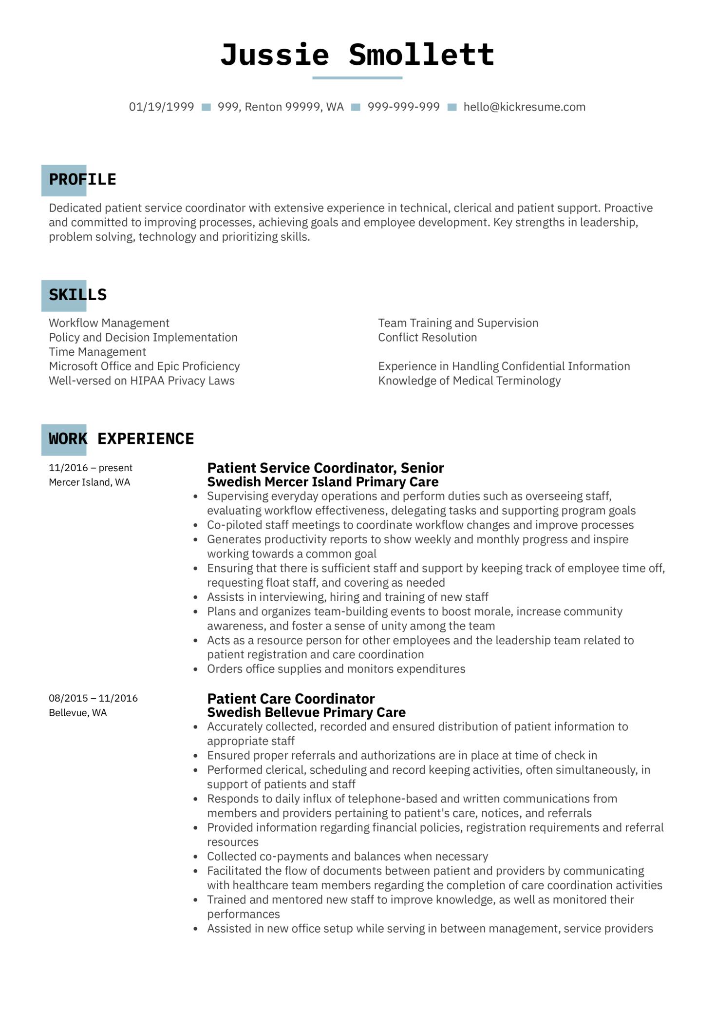 Patient Service Coordinator Resume Sample (Part 1)