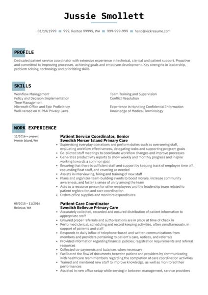 Patient Service Coordinator Resume Sample