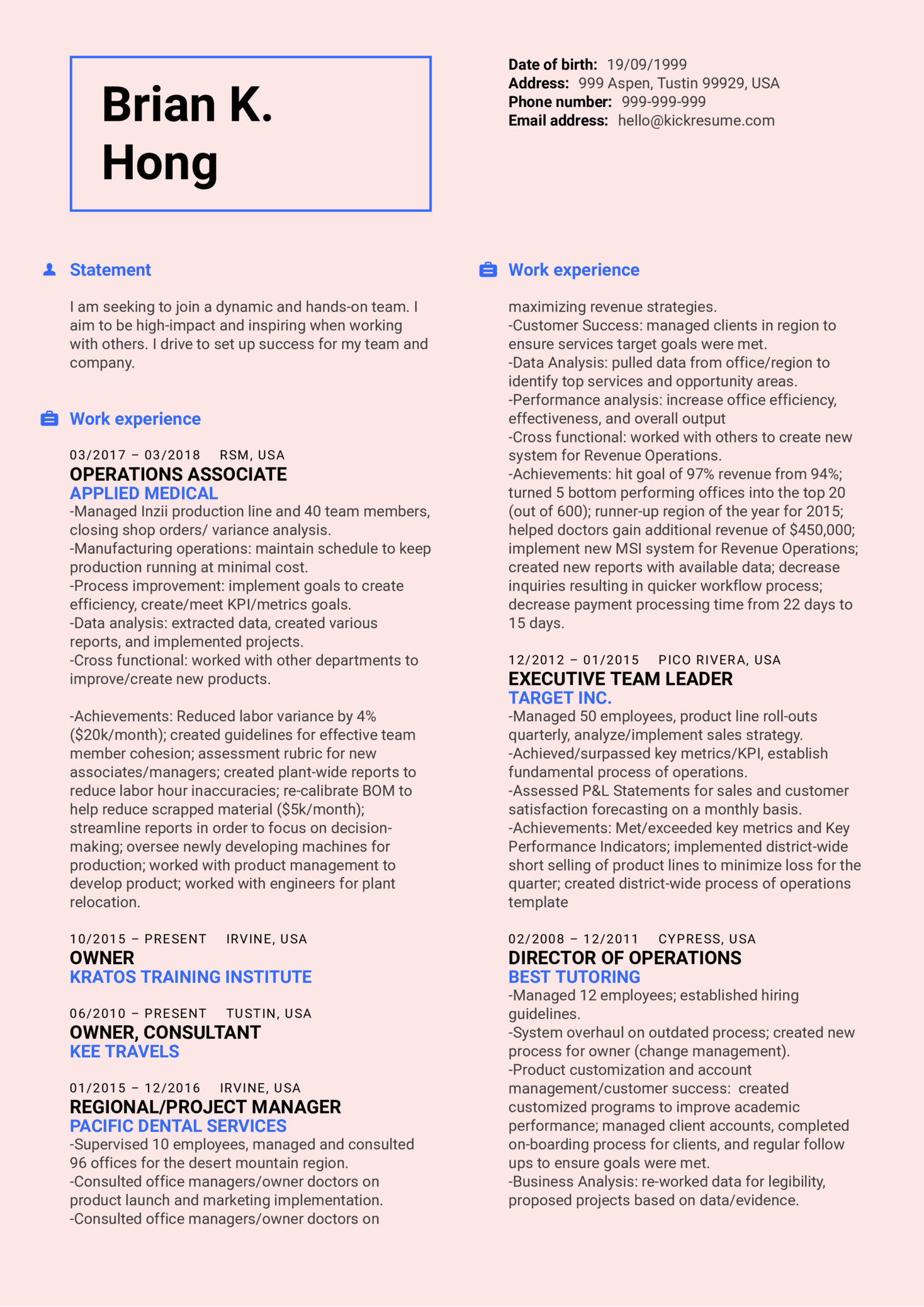 Healthcare Business Manager Resume Sample (parte 1)
