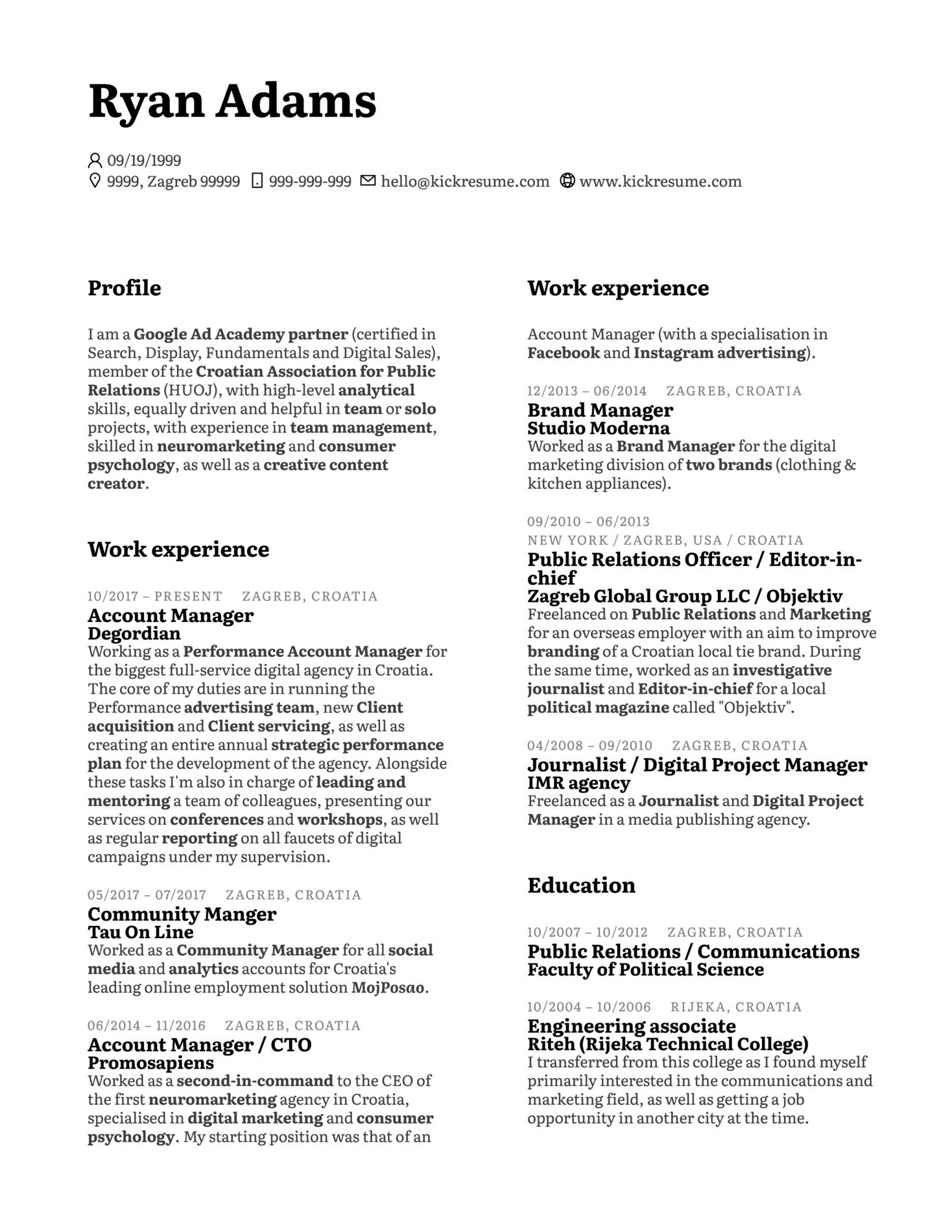 Senior Marketing Analyst CV Example (Part 1)