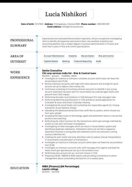 BNP Paribas Senior Officer CV Example
