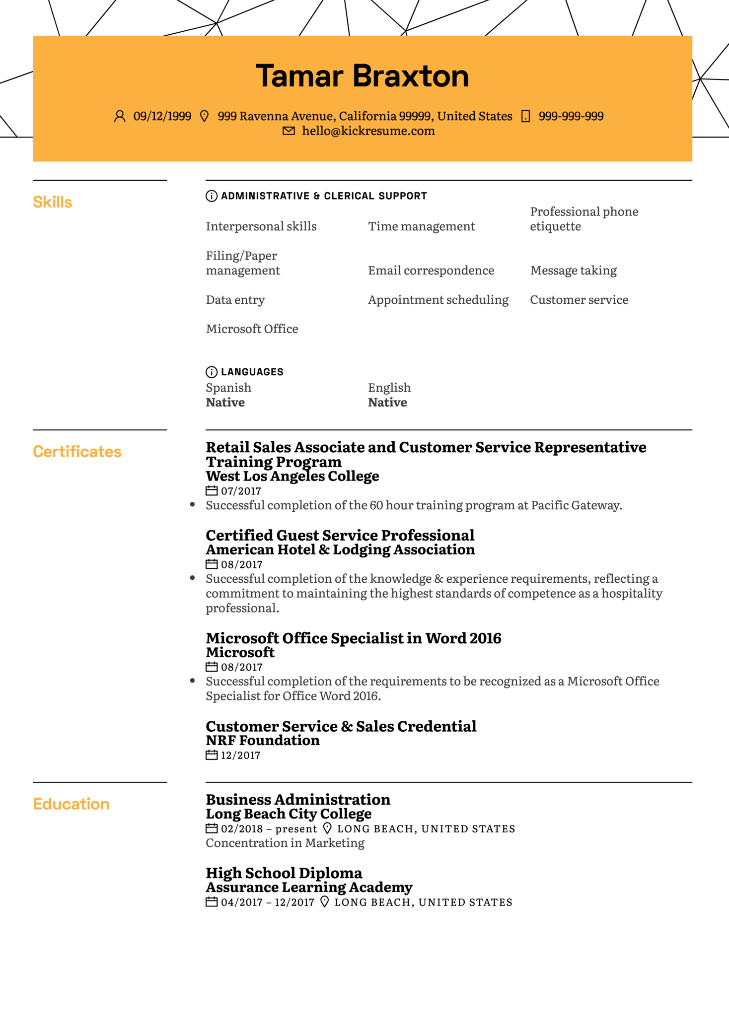 Student Office Assistant CV Example (parte 1)