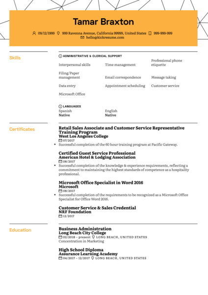 Student Office Assistant CV Example