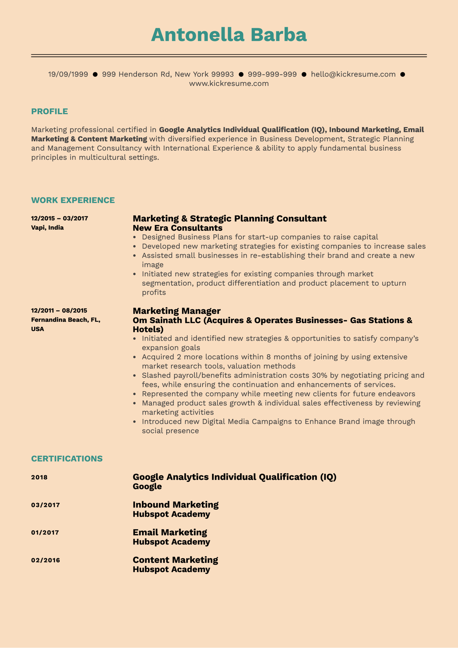 Brand Marketing Manager Resume Example (Part 1)