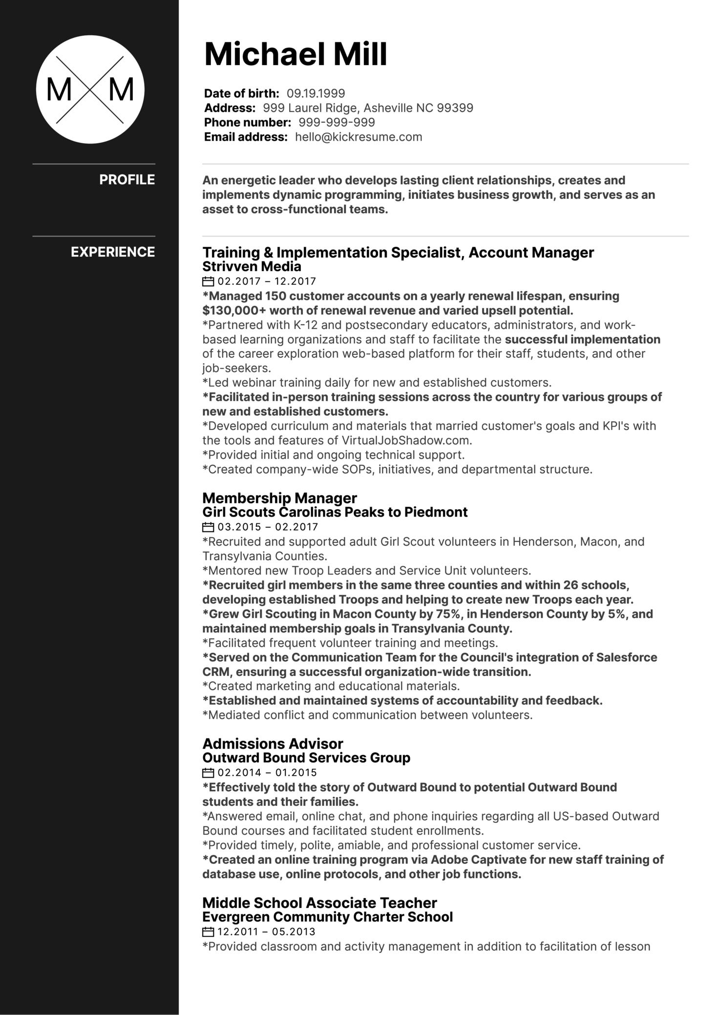 Outward Bound Associate Director CV Sample (Part 1)