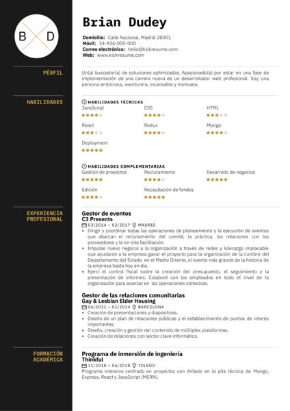 Desarrollador Full Stack CV ejemplo [ES]