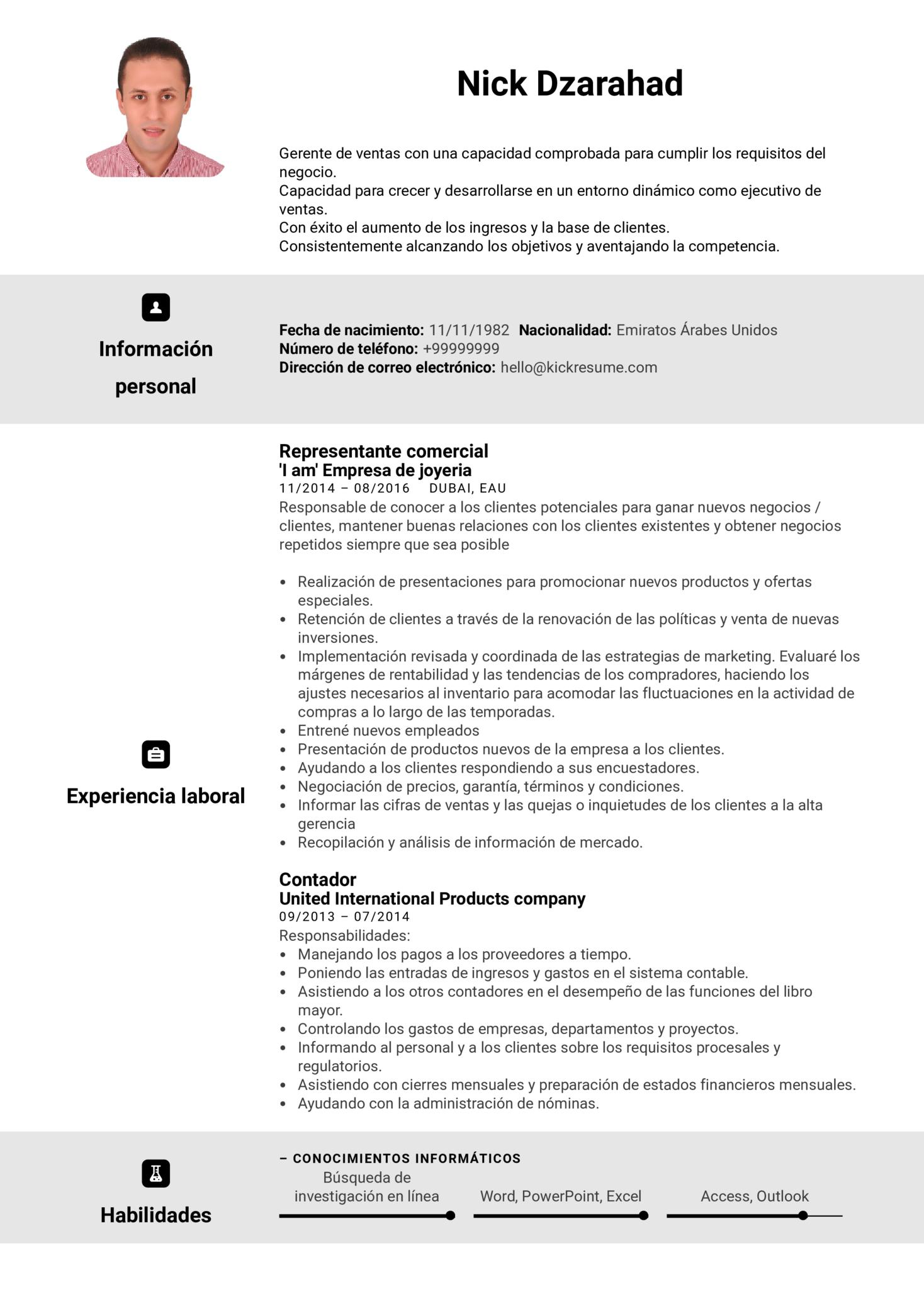Representante de ventas en Adidas currículum ejemplo [ES] (Part 1)