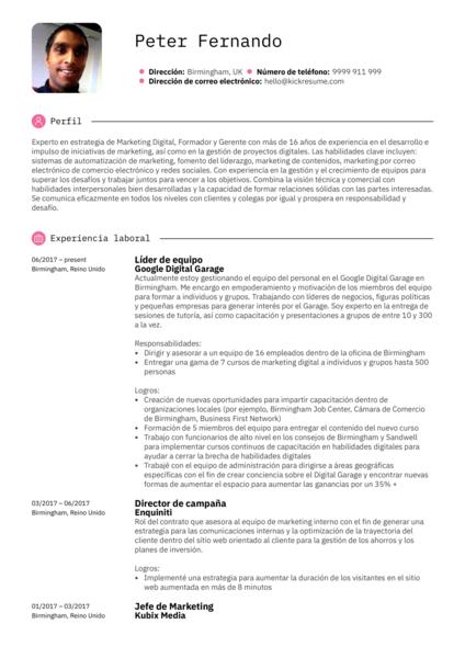 Líder del equipo en Google ejemplo currículum ejemplo [ES]