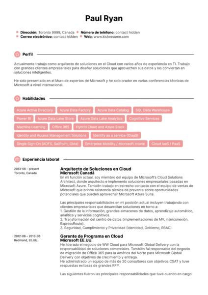 Gerente de programa para Microsoft Cloud currículum ejemplo [ES]