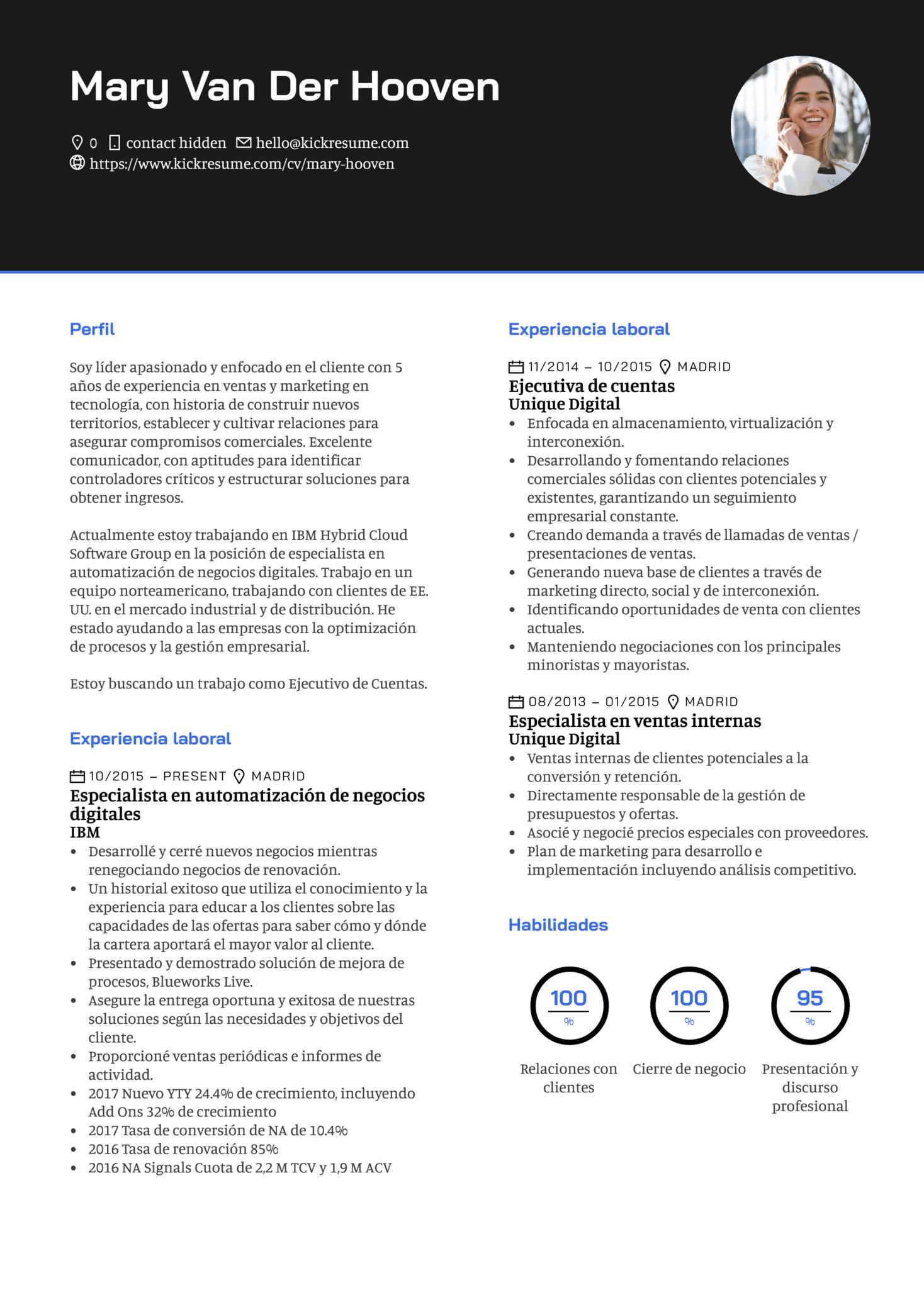 Ejecutivo de cuenta en Google currículum ejemplo [ES] (Parte 1)