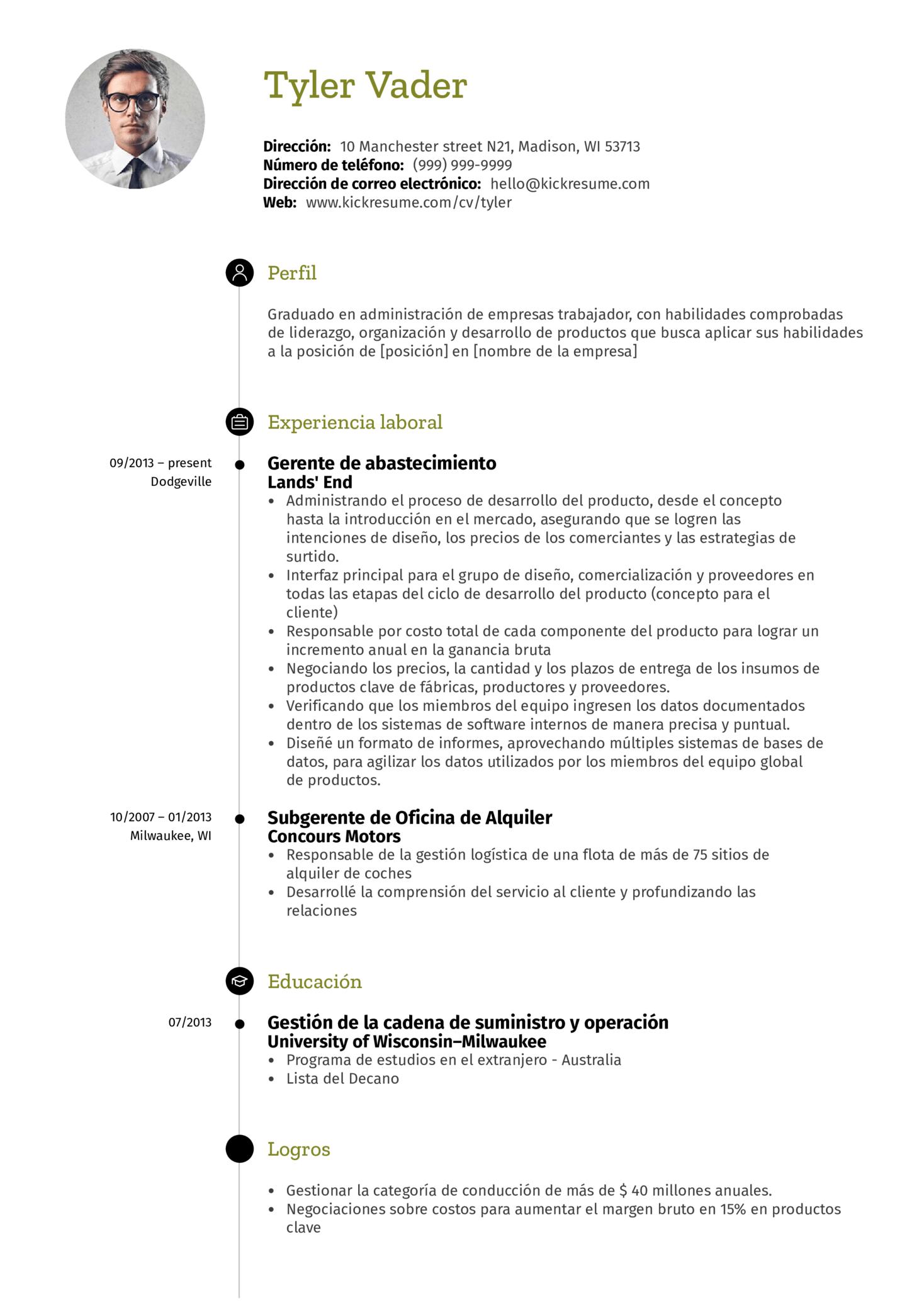 Gerente de administración currículum ejemplo [ES] (parte 1)