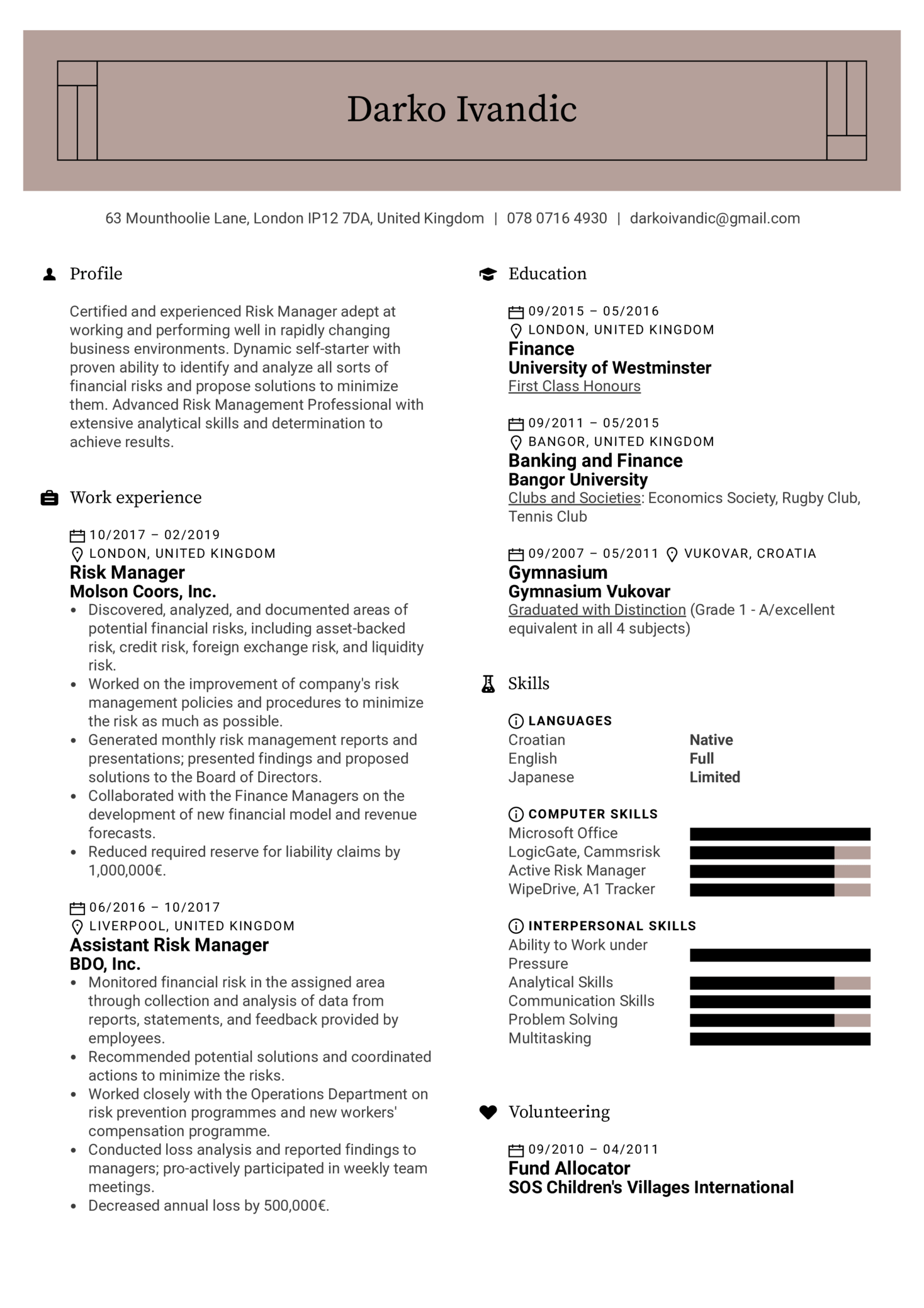 Risk Manager Resume Example (Part 1)