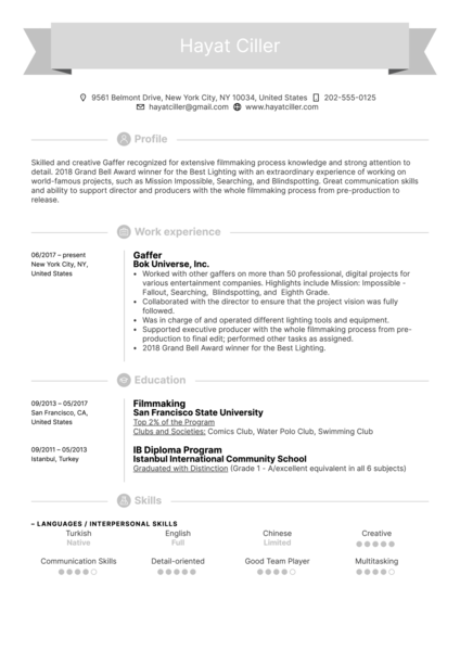 Gaffer Resume Example