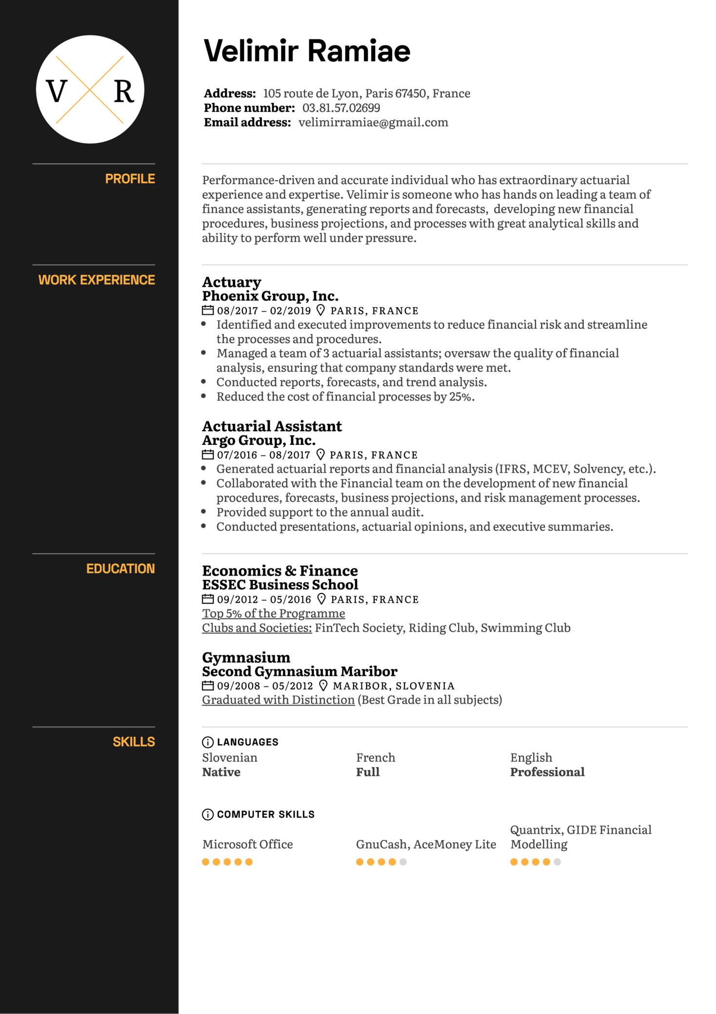 Actuary Resume Example (parte 1)