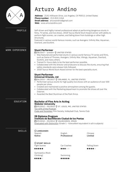 Stunt Performer Resume Example