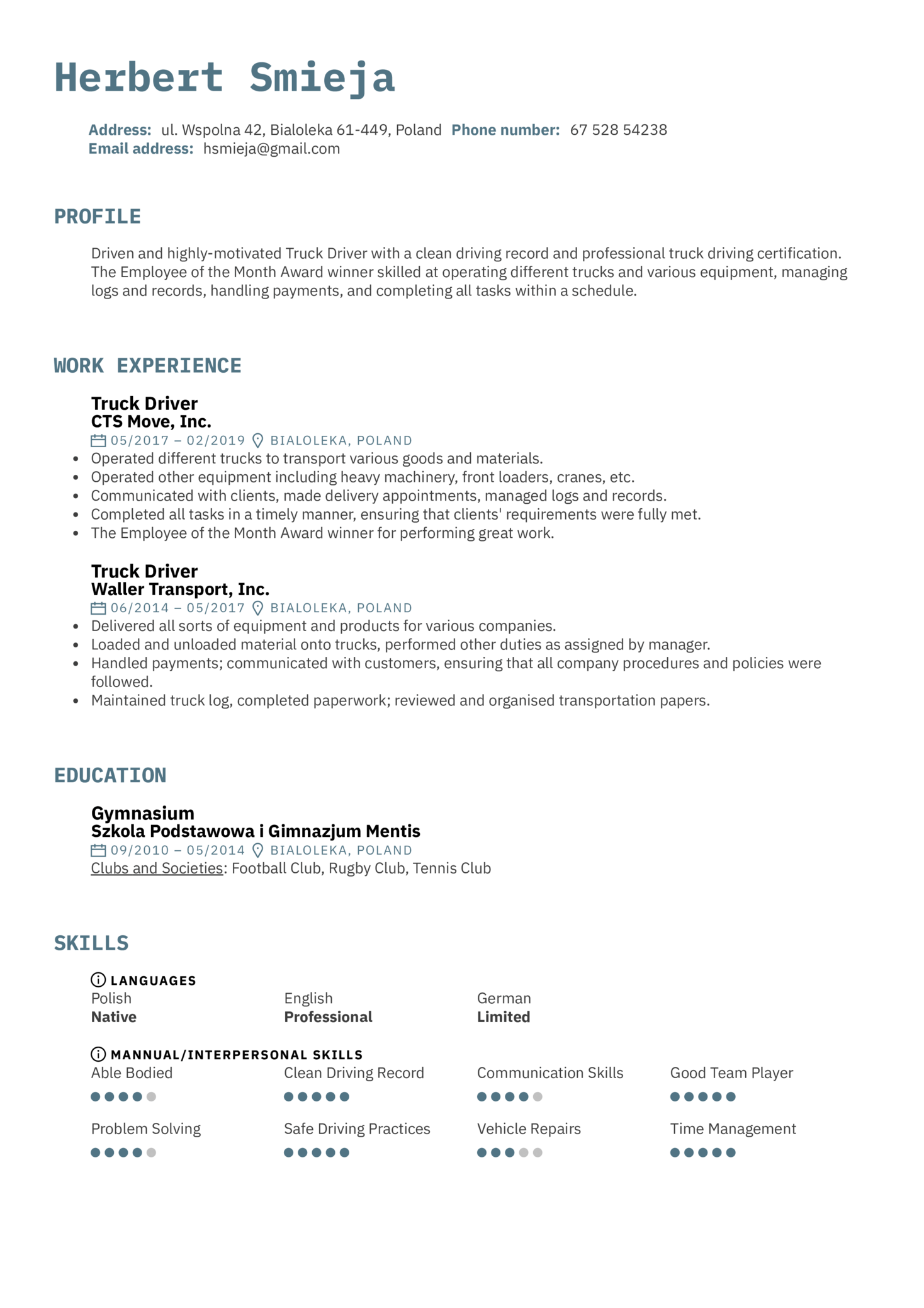 Truck Driver Resume Example (Teil 1)