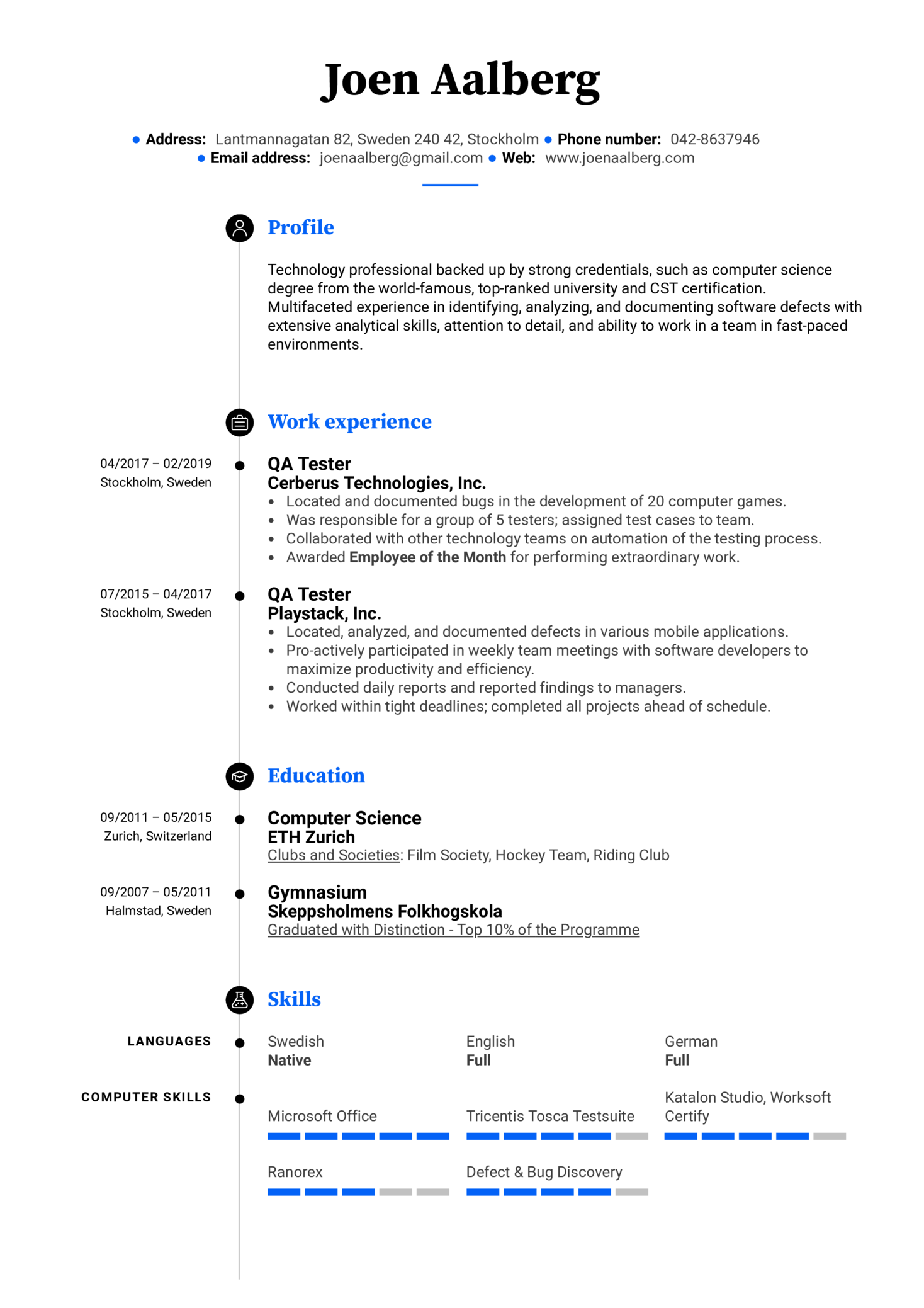 QA Tester Resume Example (Parte 1)