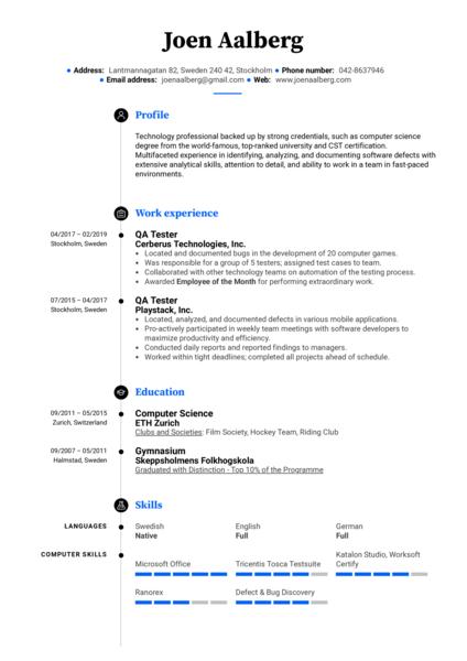 QA Tester Resume Example