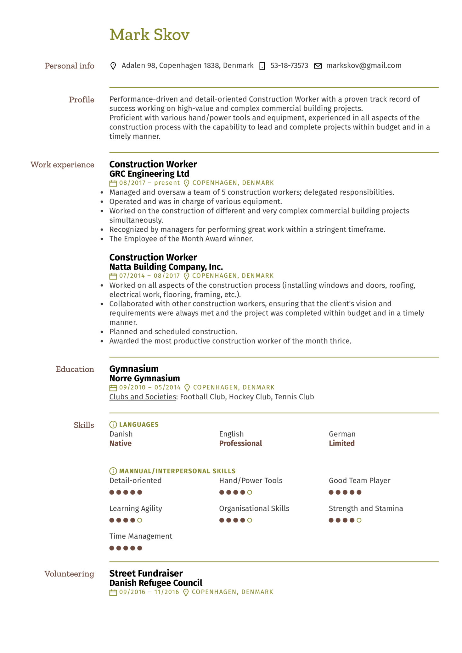 Construction Worker Resume Example (parte 1)