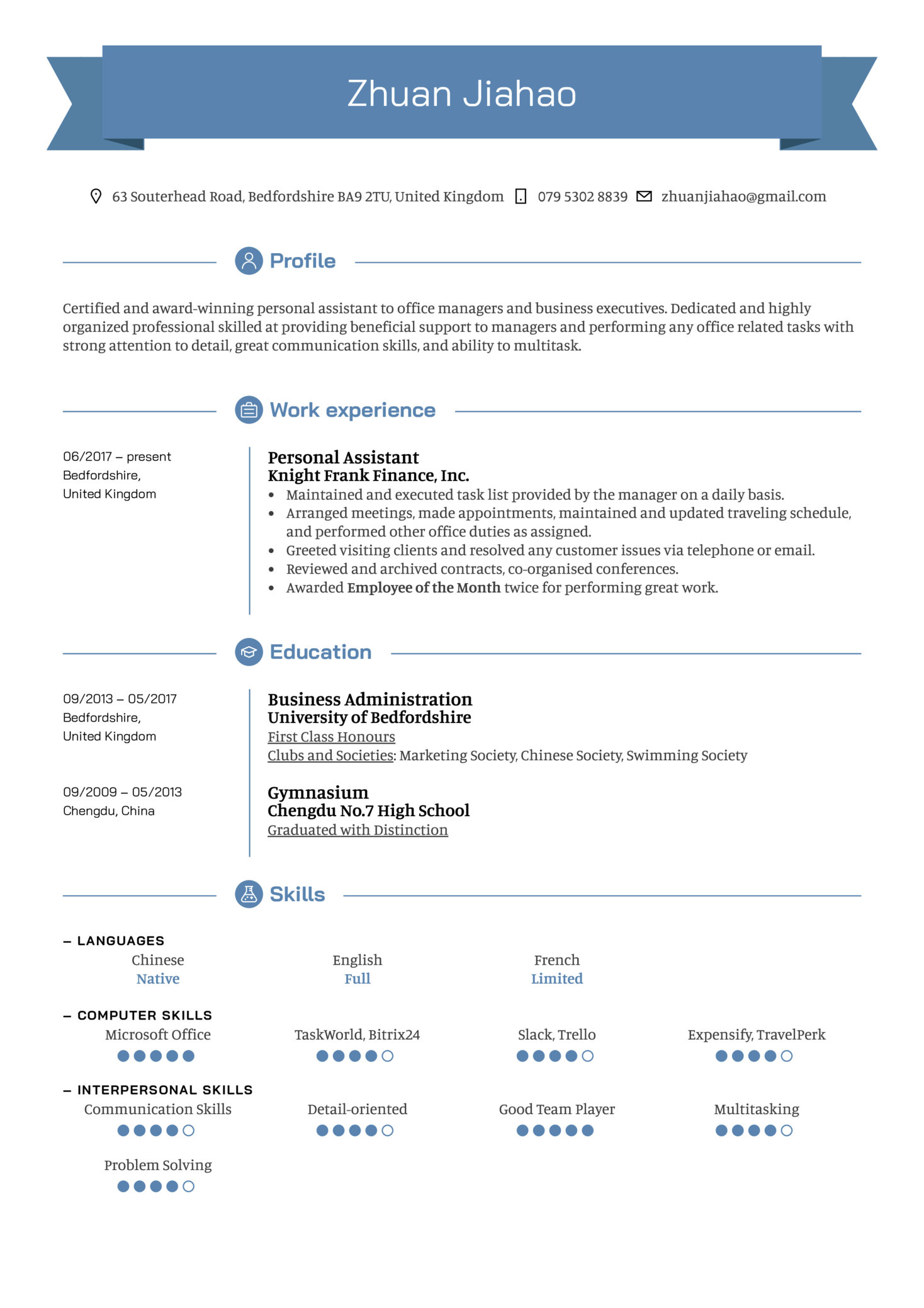 Personal Assistant Resume Example (Part 1)