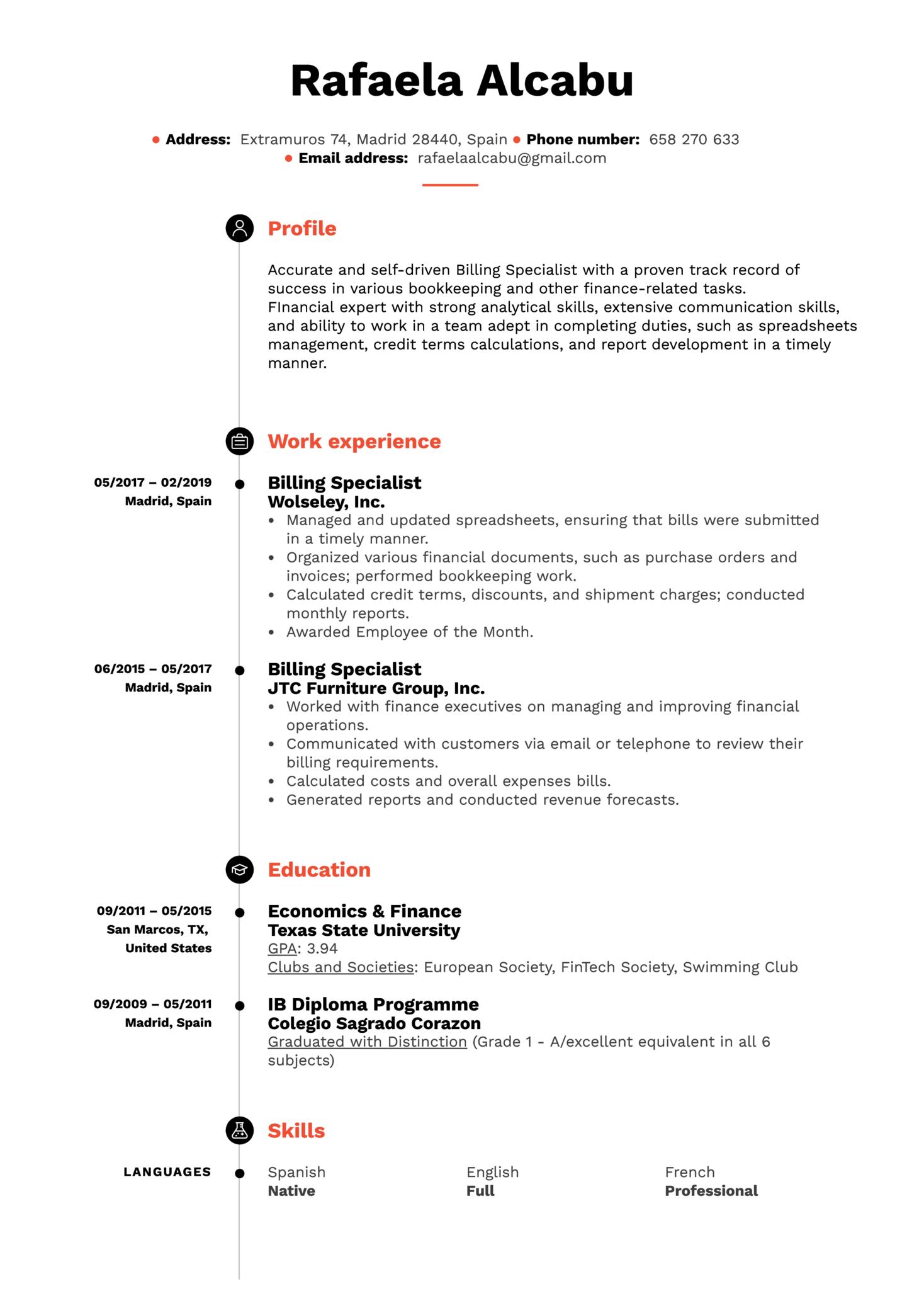 Billing Specialist Resume Example (parte 1)
