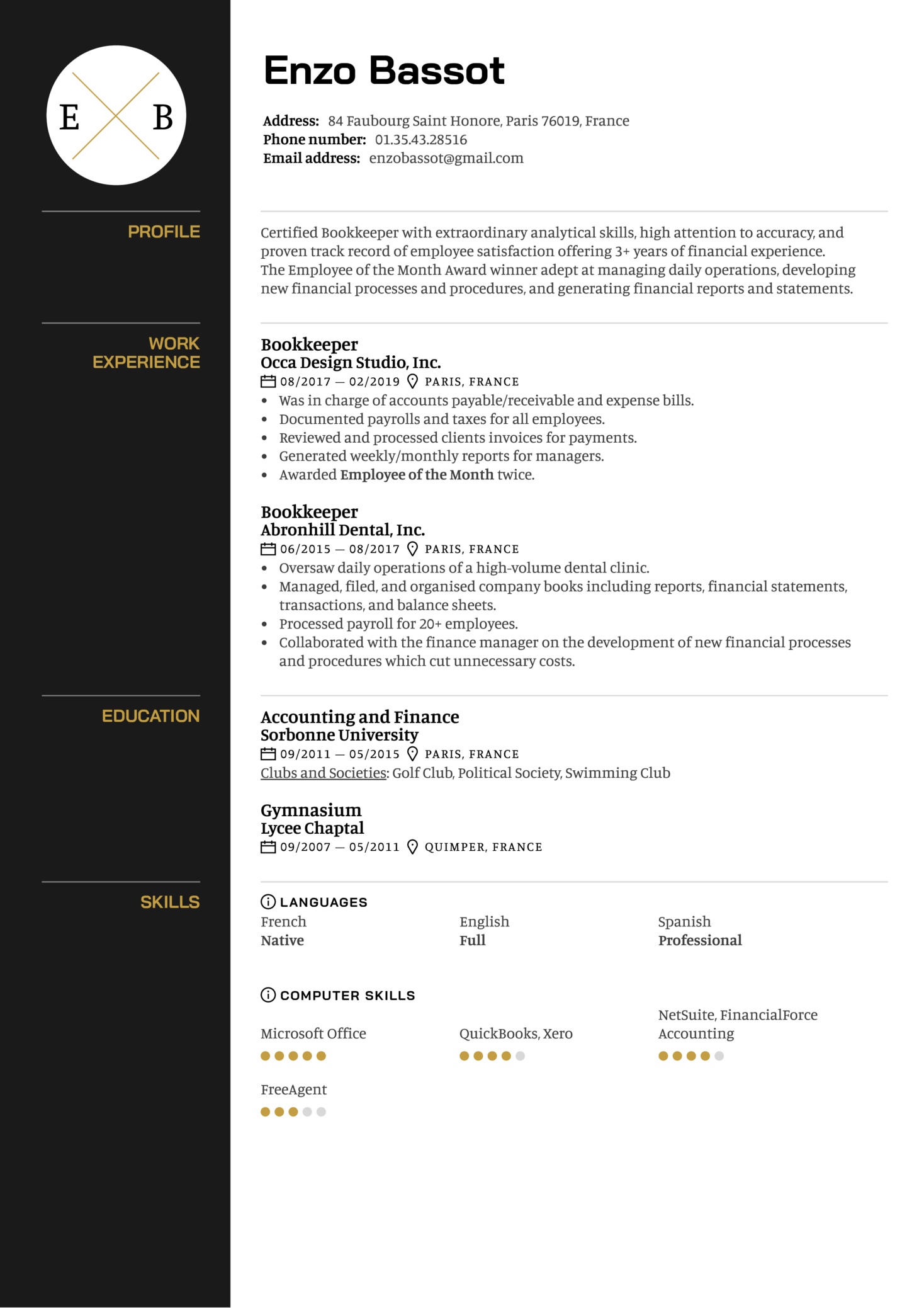 Bookkeeper Resume Example (parte 1)