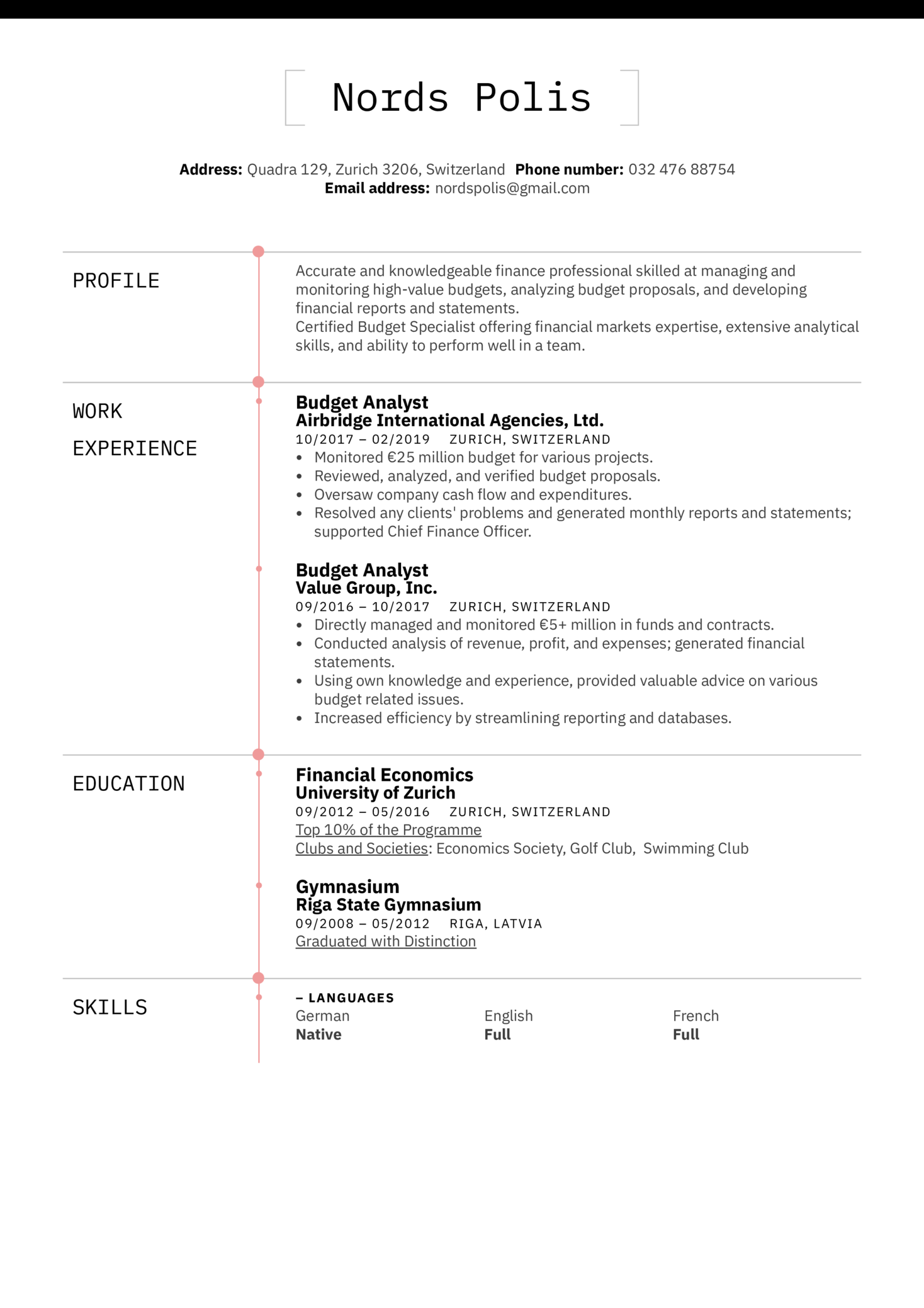 Budget Analyst Resume Example (Part 1)