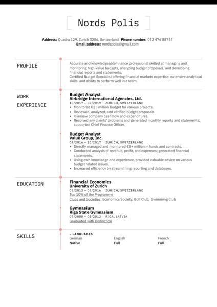 Budget Analyst Resume Example