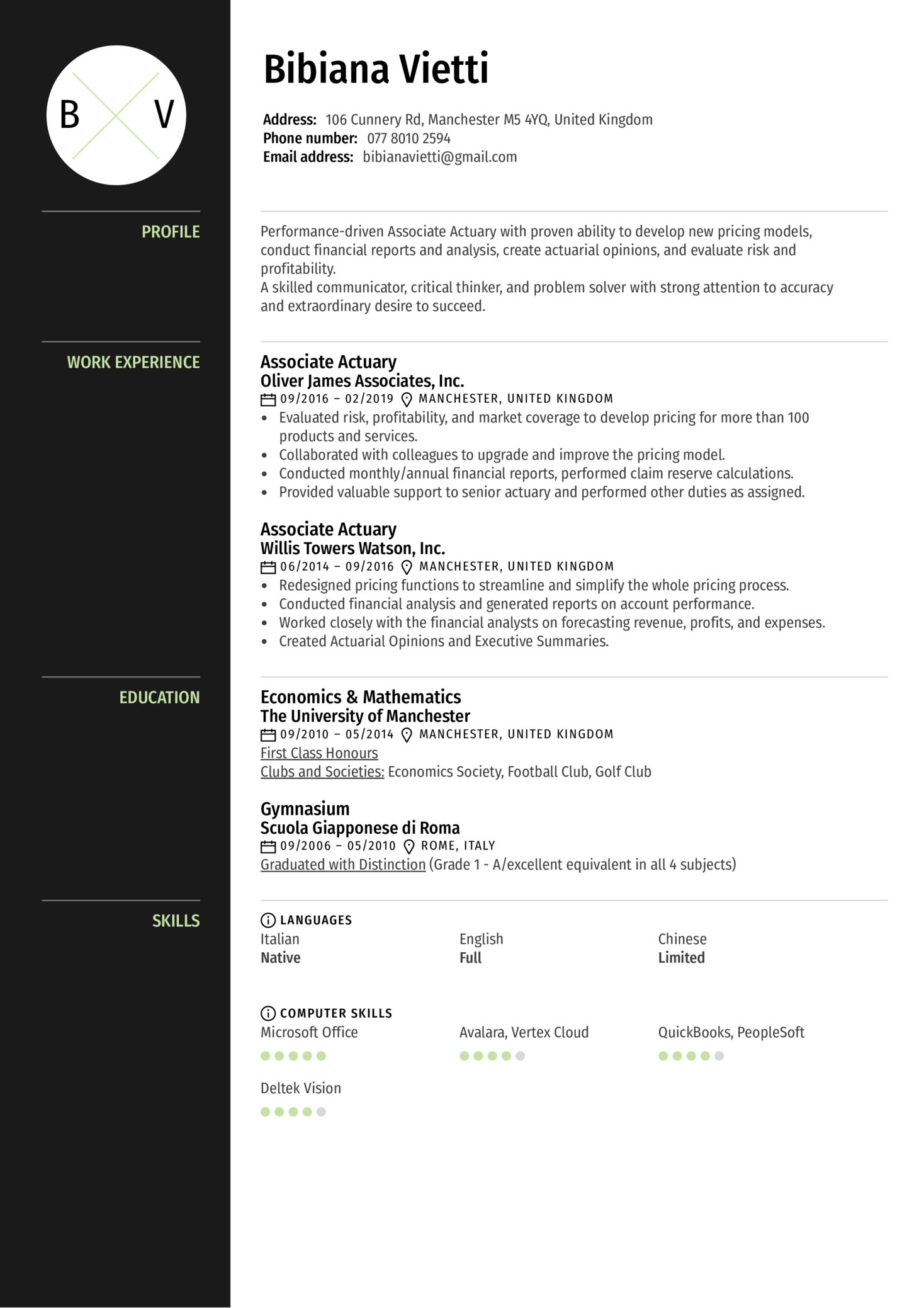 Associate Actuary Resume Example (Parte 1)