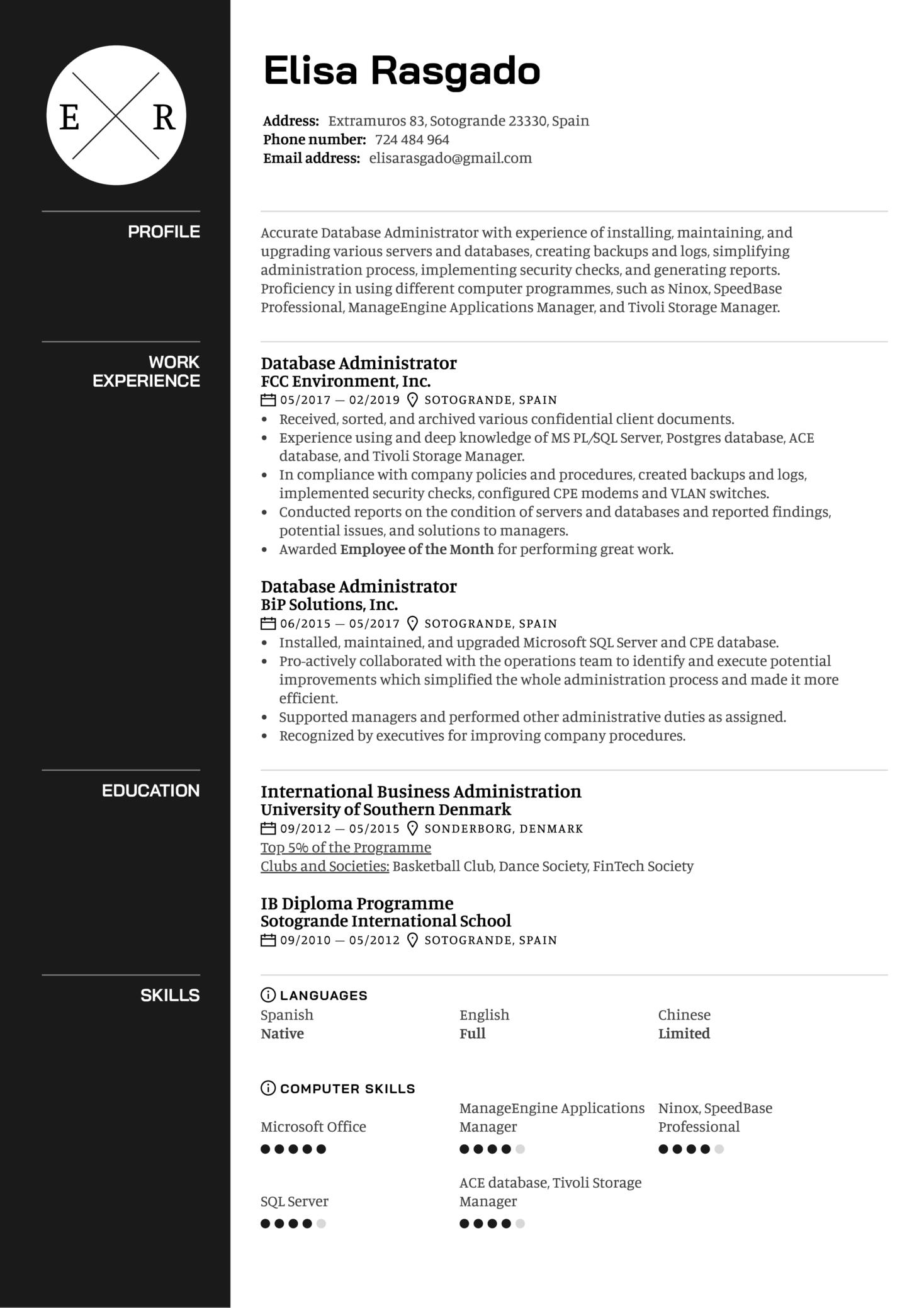 Database Administrator Resume Example (parte 1)