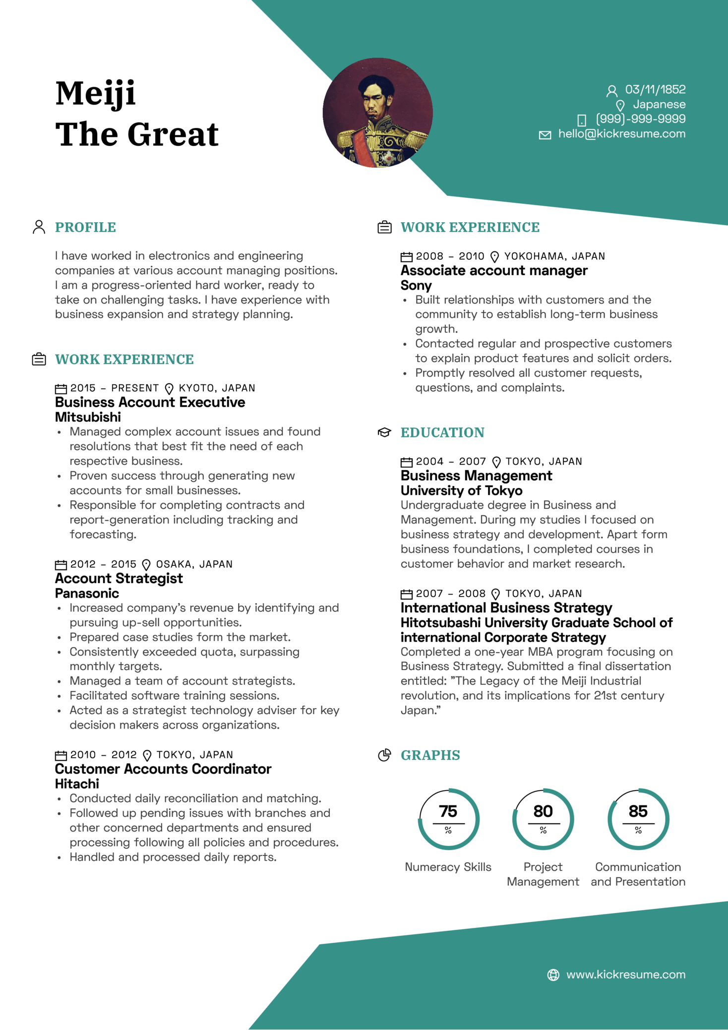 Business Executive Account Manager Resume Sample (Part 1)