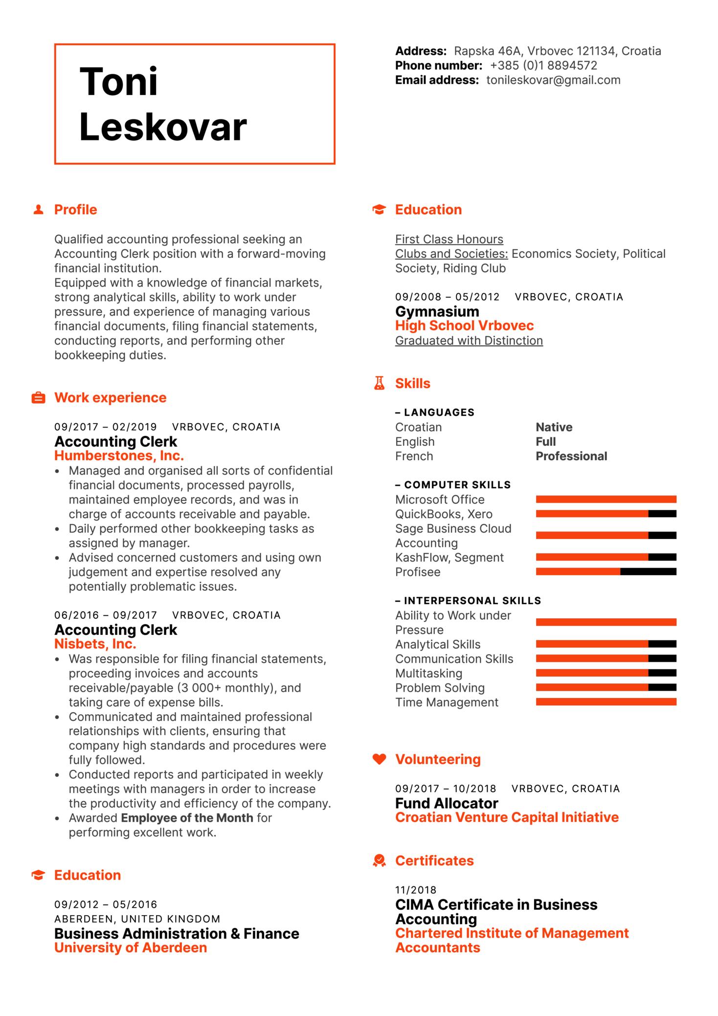 Accounting Clerk Resume Example (Parte 1)