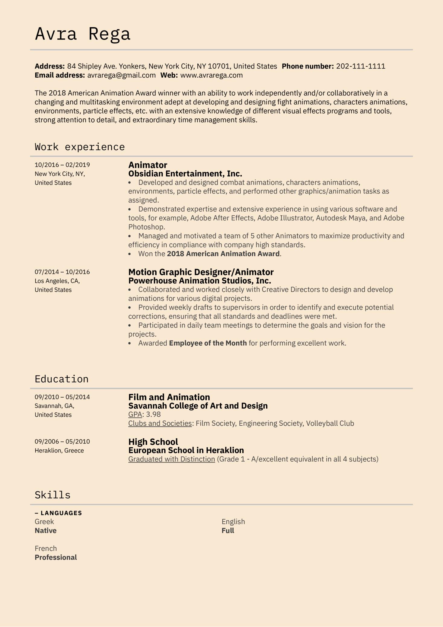 Animator Resume Example (Teil 1)