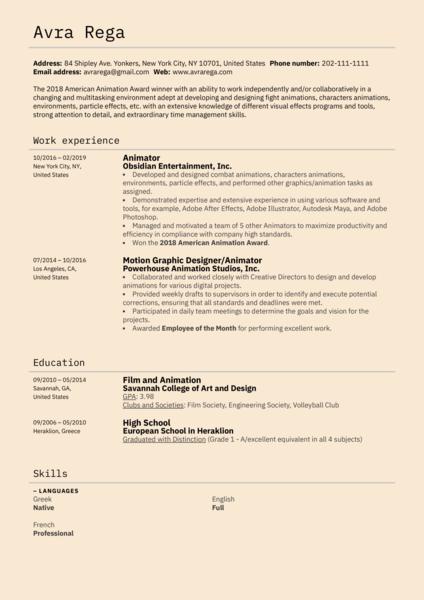 Animator Resume Example