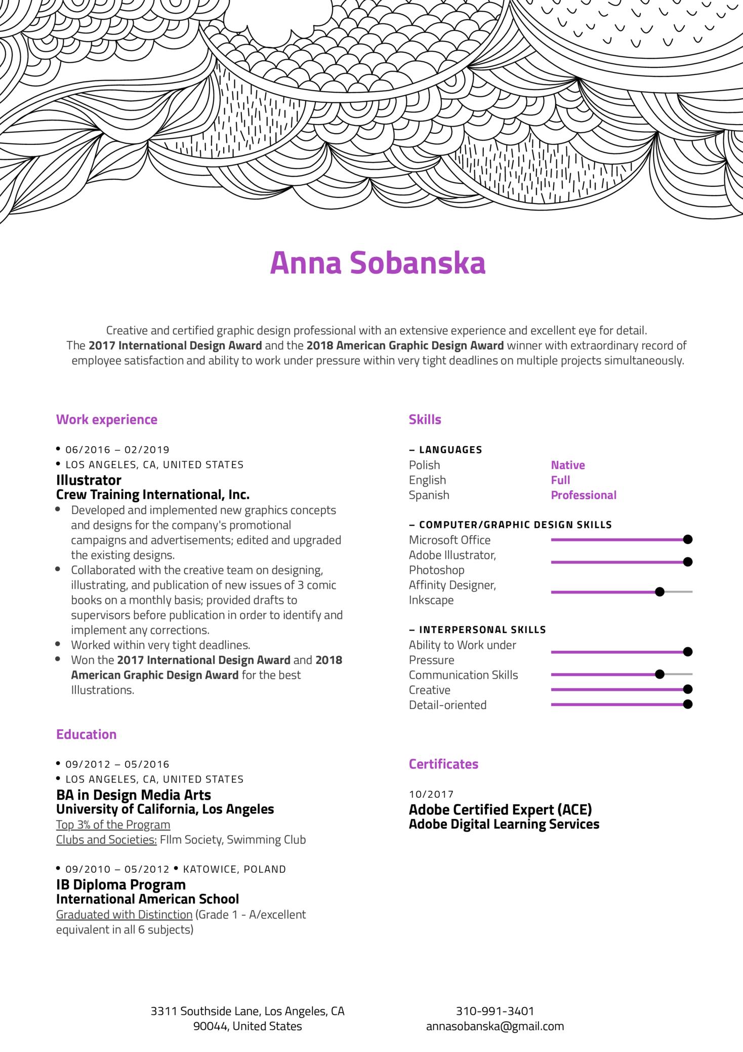 Illustrator Resume Example