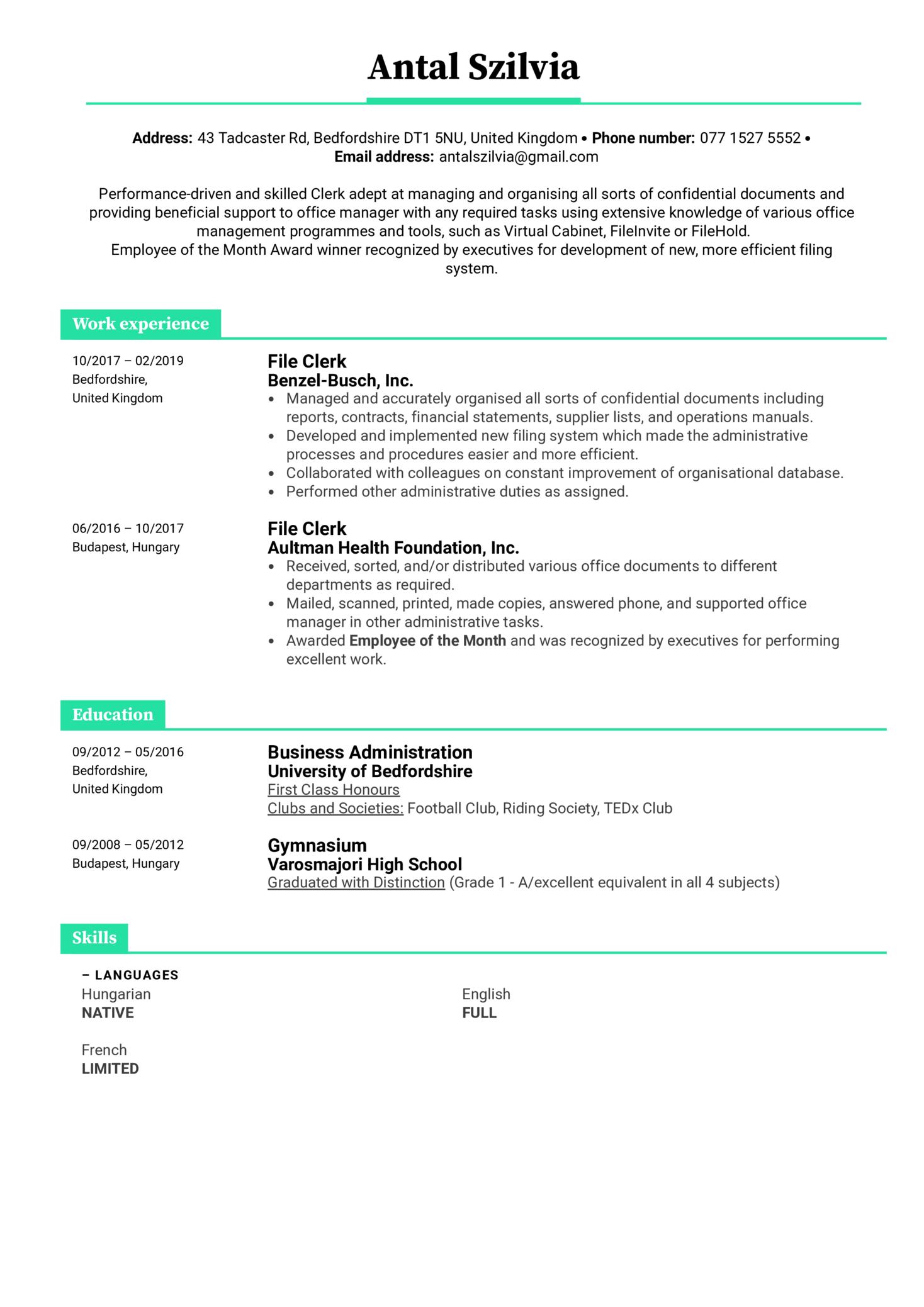 File Clerk Resume Example (parte 1)