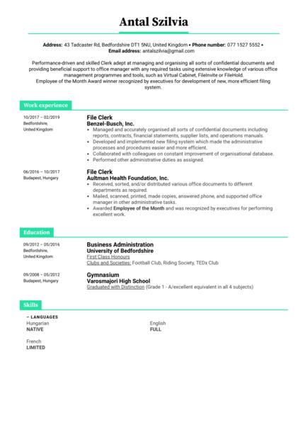 File Clerk Resume Example