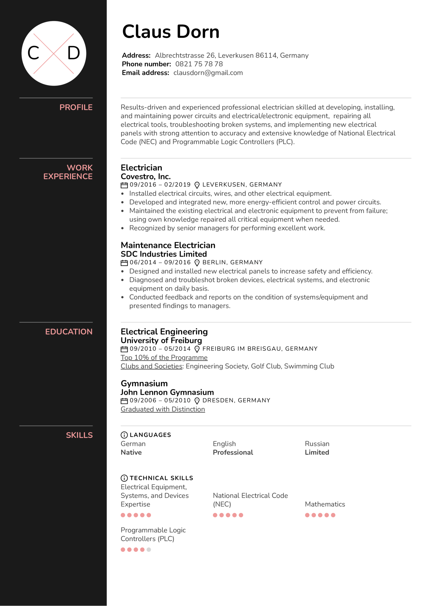 Electrician Resume Example (Part 1)