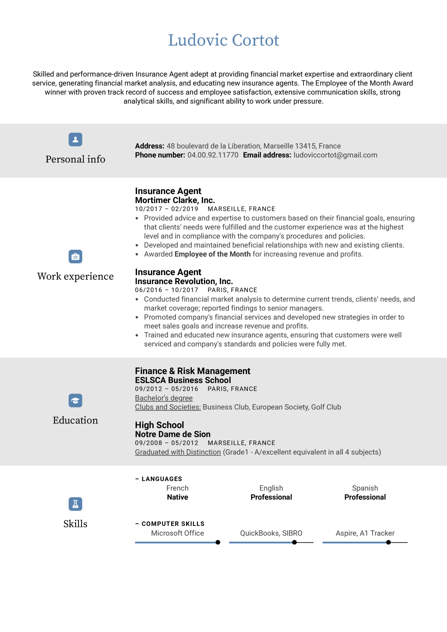 Insurance Agent Resume Example (Part 1)