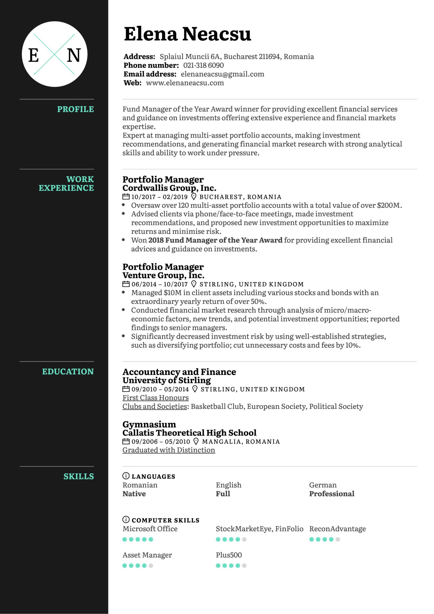 Portfolio Manager Resume Example (parte 1)