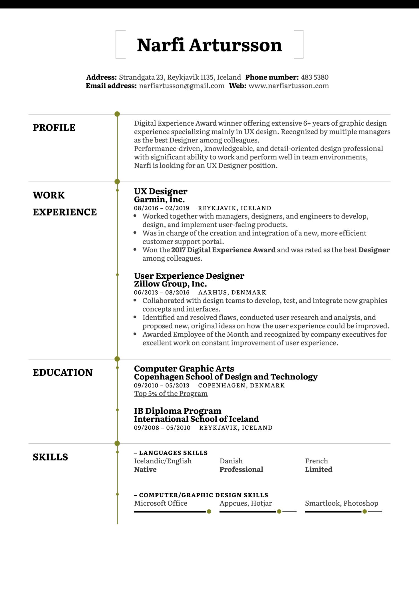 UX Designer Resume Example (parte 1)