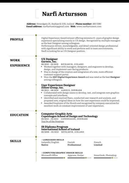 UX Designer Resume Example