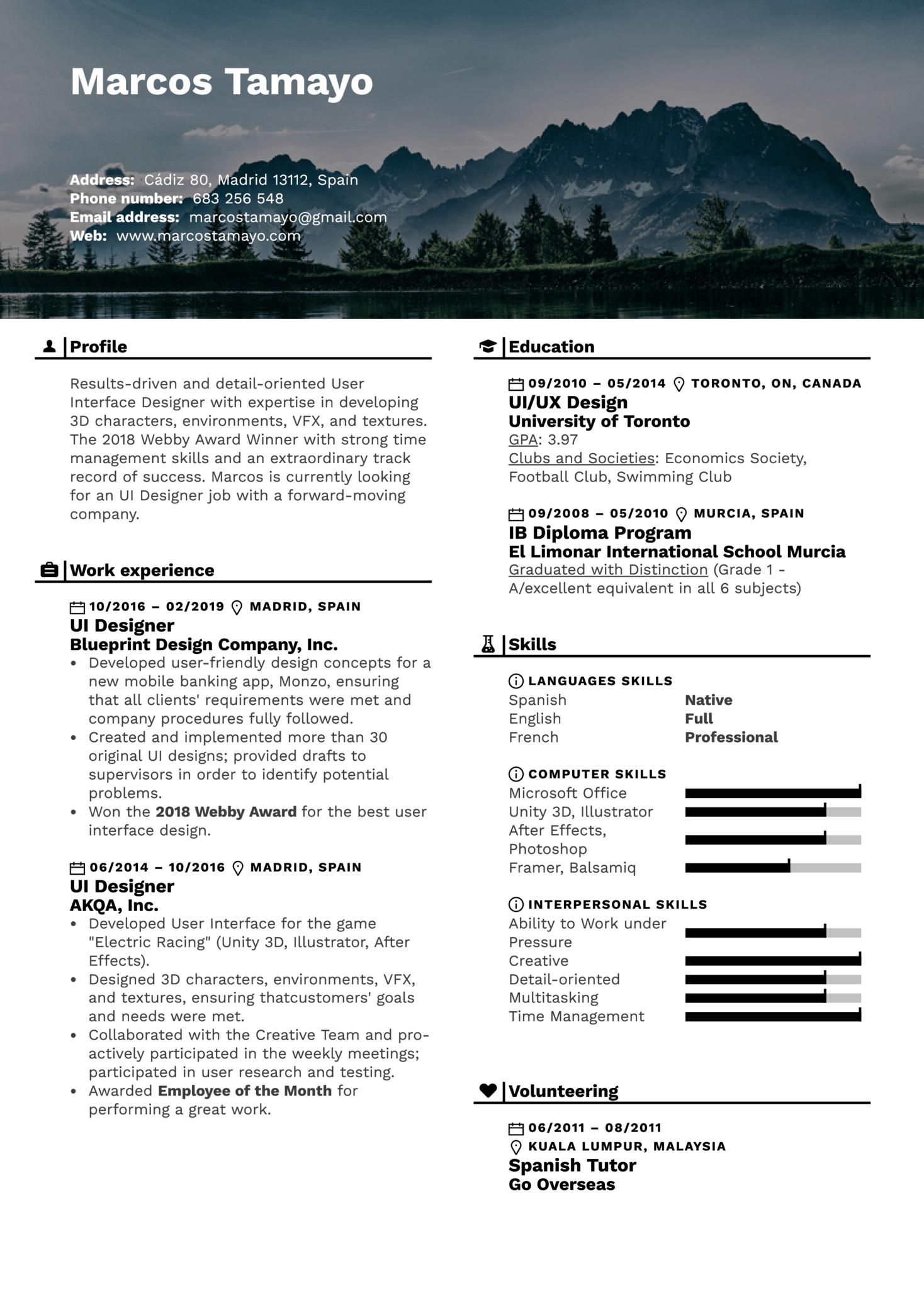 UI Designer Resume Example (Part 1)