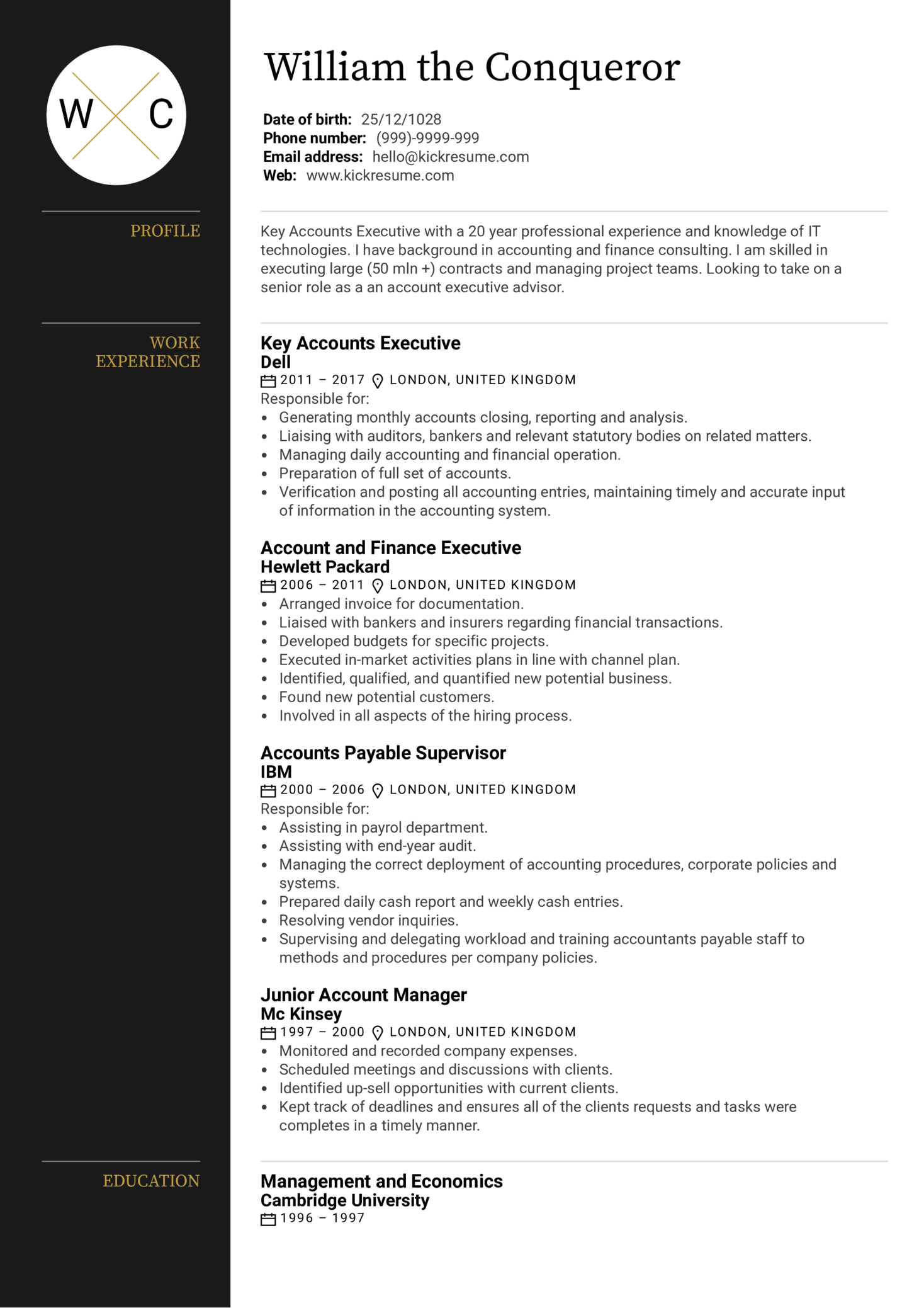 Executive Account Manager Resume Sample (parte 1)