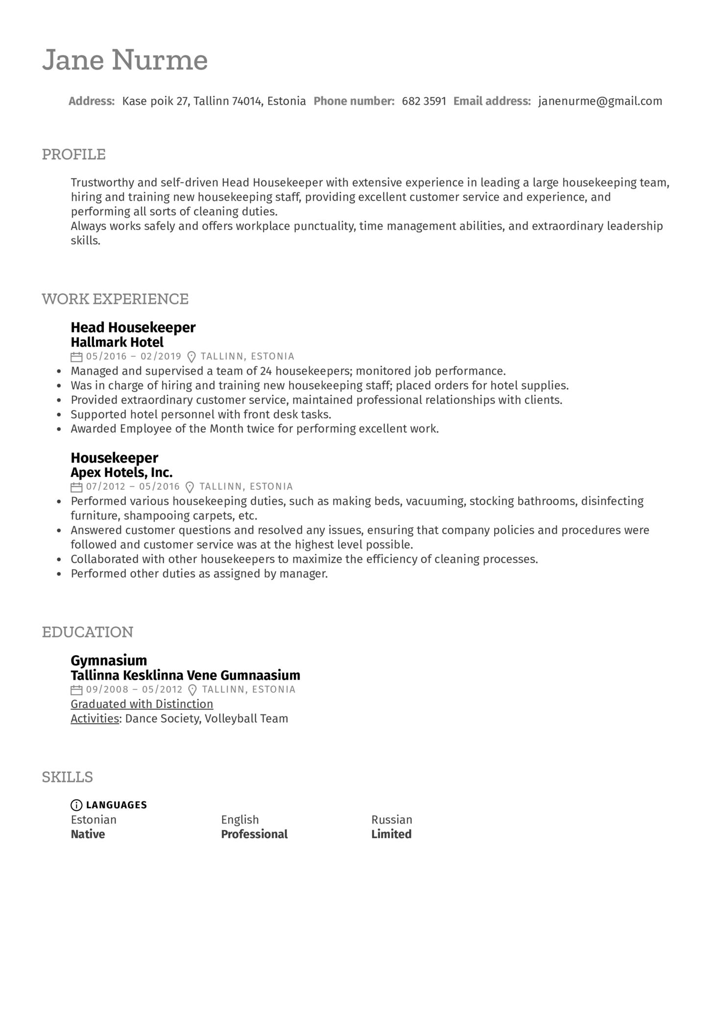 Head Housekeeper Resume Sample (Part 1)