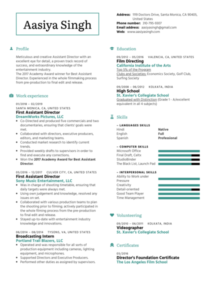 First Assistant Director Resume Example