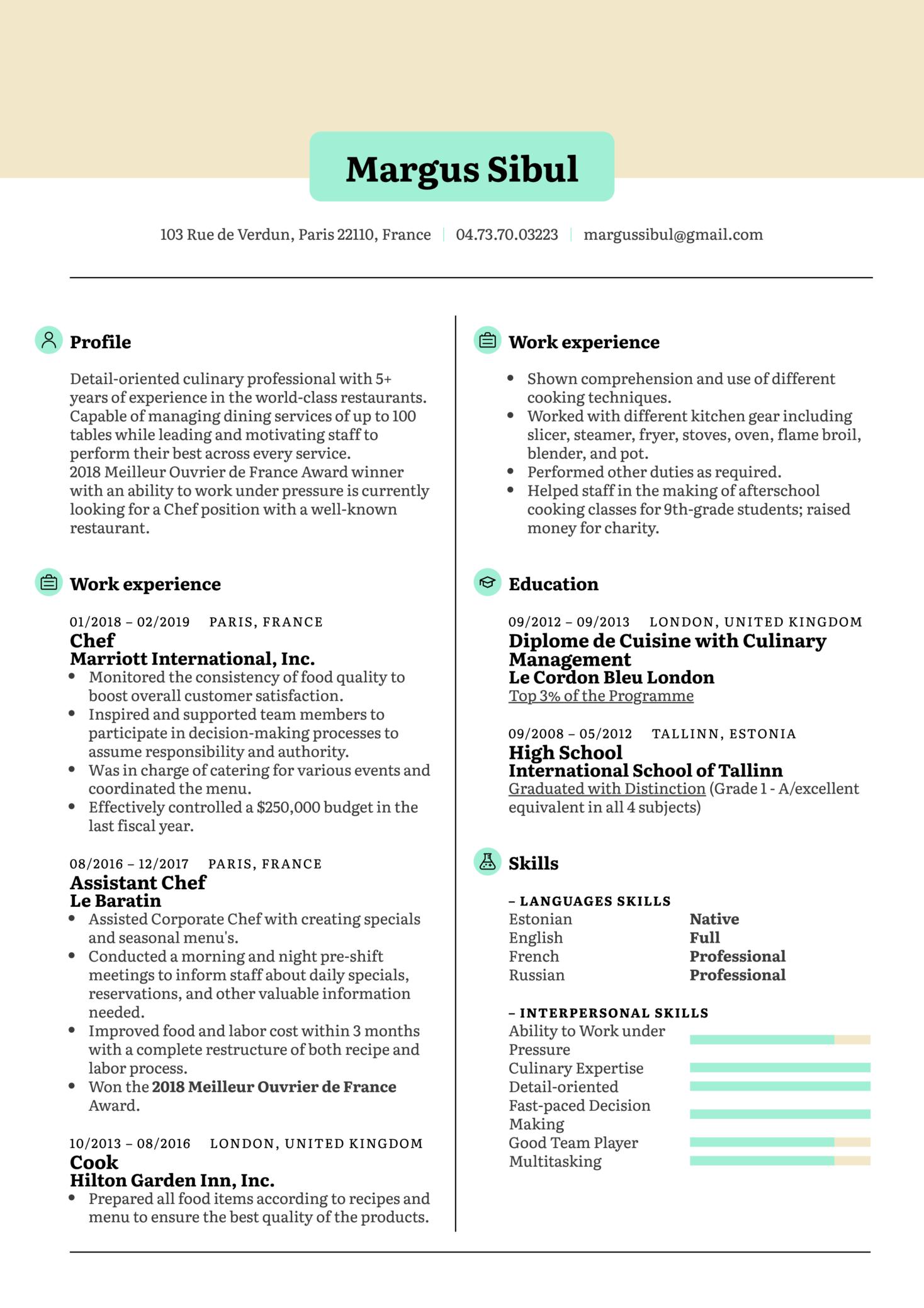 Chef Resume Example (časť 1)
