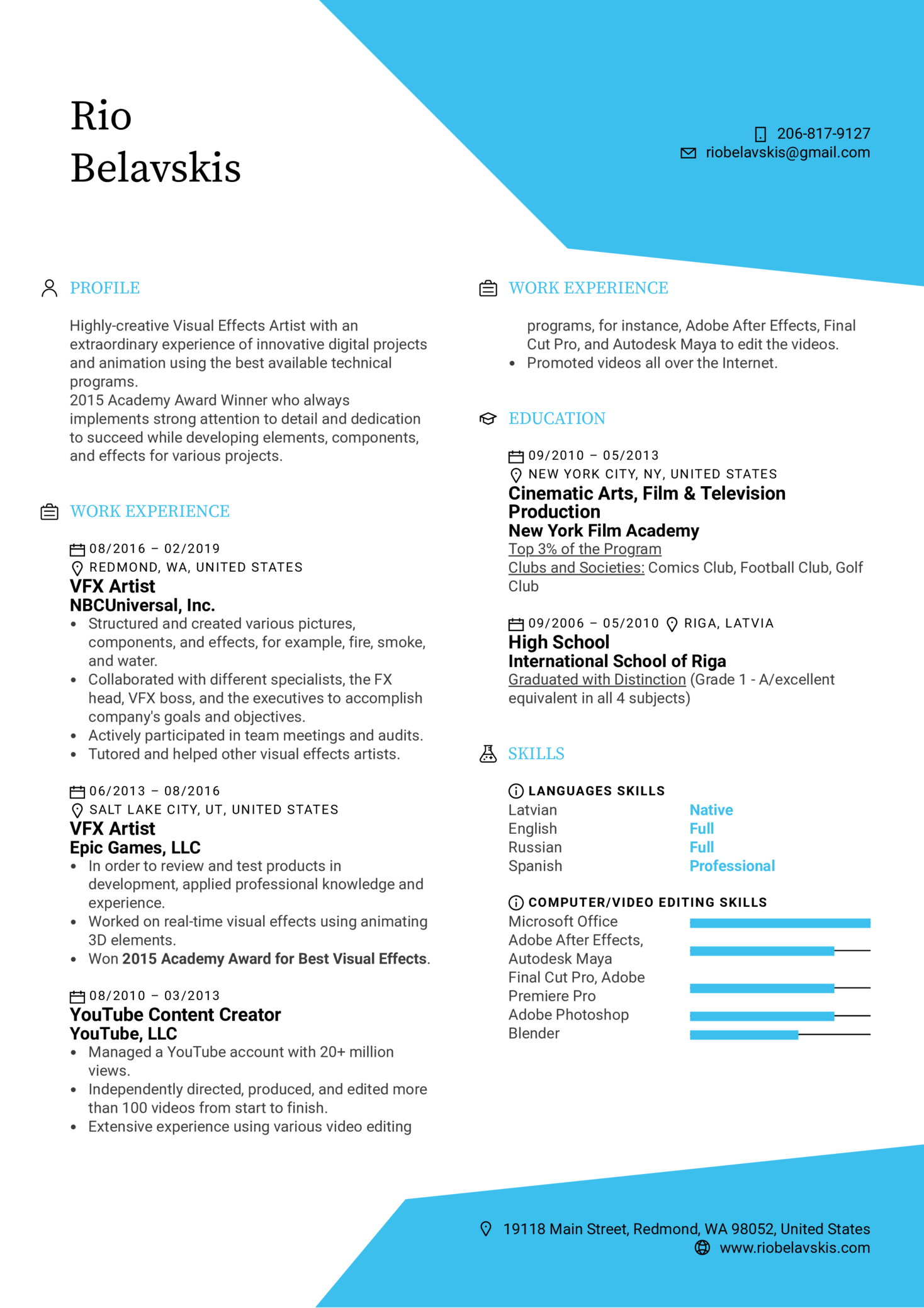 Visual Effects Artist Resume Template (parte 1)